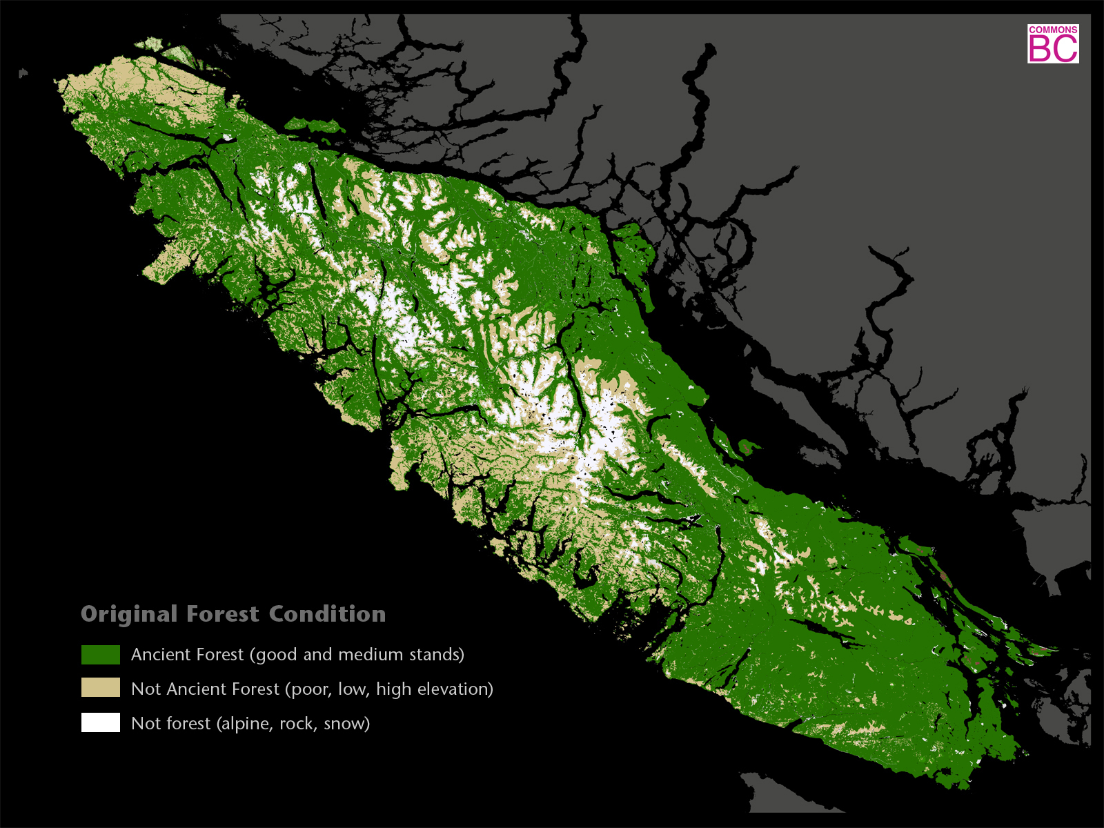BC old growth map - Supplied by Commons BC