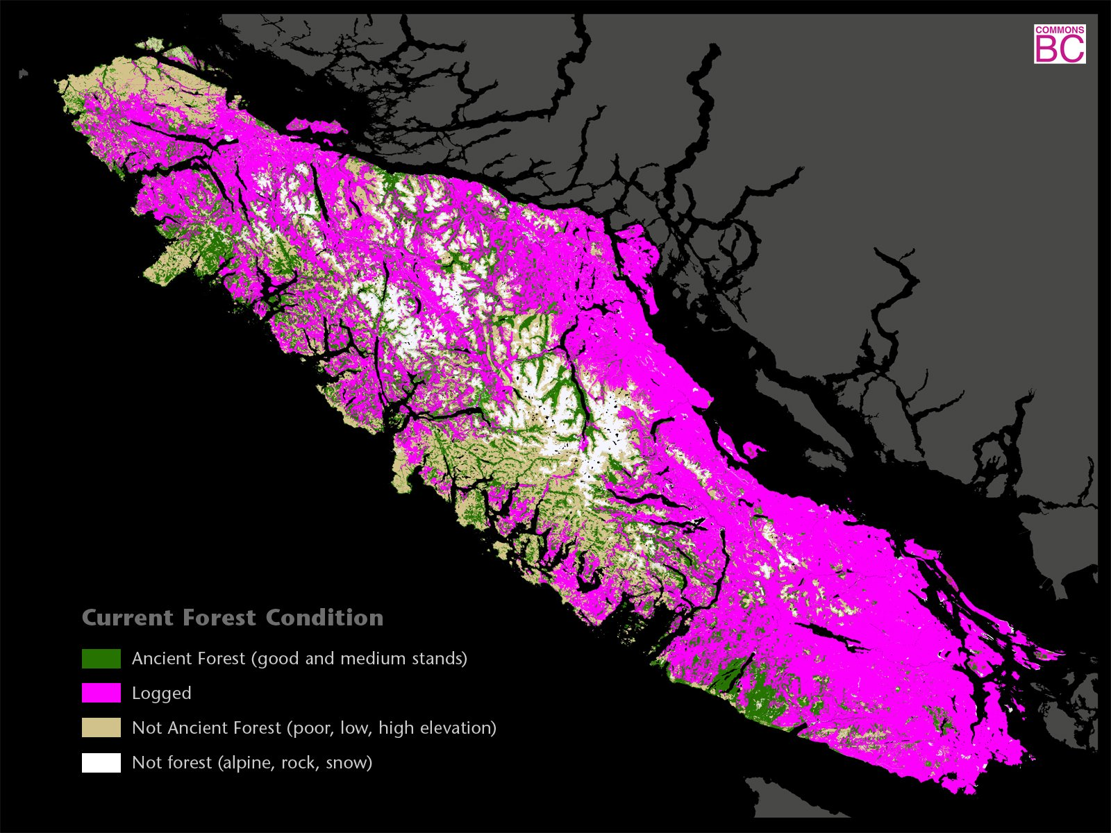 Logged areas of Vancouver Island - Map supplied by Commons BC