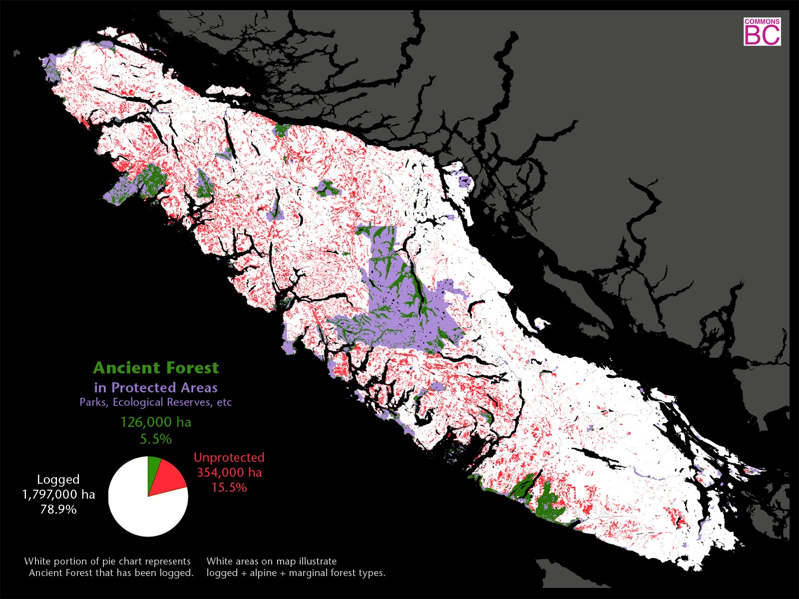 Protected areas of Vancouver Island - map supplied by Commons BC