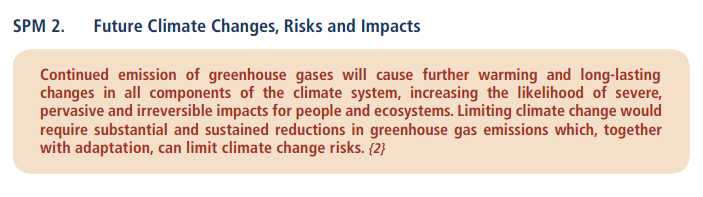 Third statement from 2014 IPCC report. IPCC