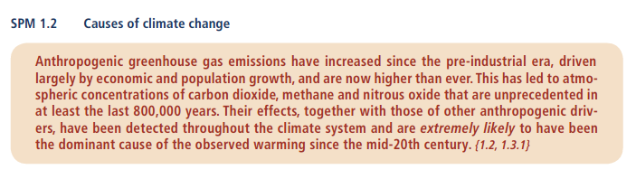 Second statement from IPCC 2014 report on climate change. IPCC