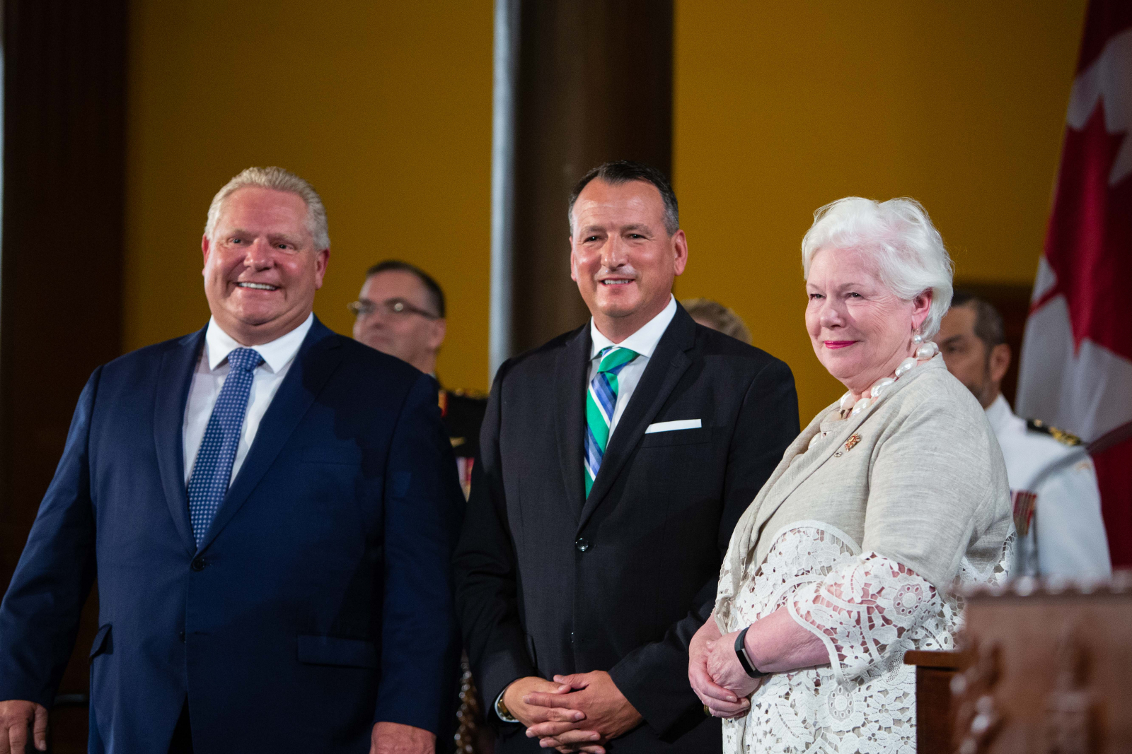 Ontario Premier Doug Ford, Indigenous Affairs Minister Greg Rickford, and Ontario Lieutenant Governor Elizabeth Dowdeswell take part in a cabinet swearing-in ceremony at Queen's Park in Toronto on June 29, 2018. Photo by Alex Tétreault