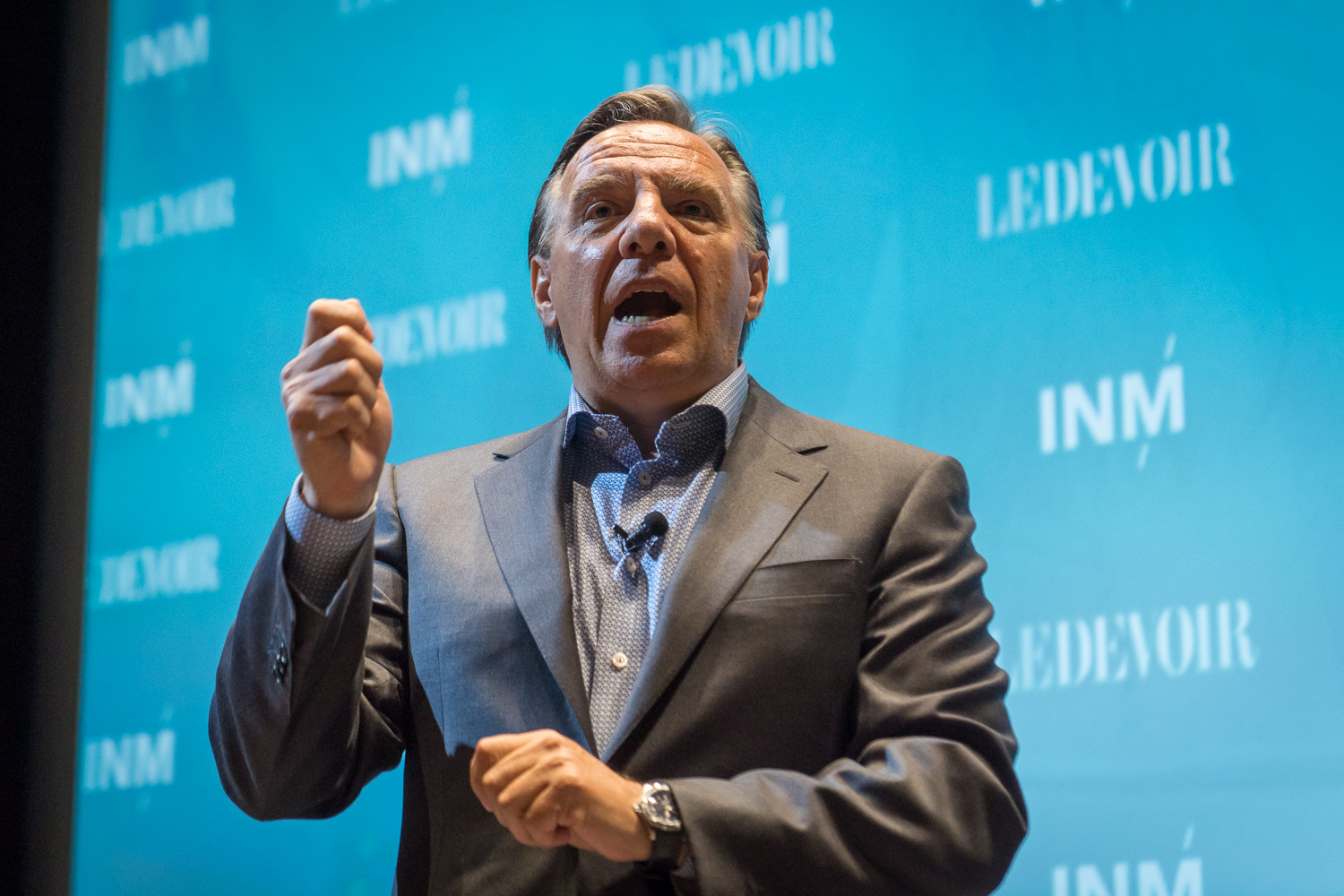 François Legault of Coaltion Avenir Québec takes the stage at an event on August 17 at Concordia University in Montreal