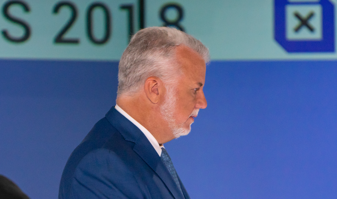 Liberal Leader and former Quebec premier Philippe Couillard at the first leaders' debate of the 2018 election in Montreal on Sept. 13, 2018. Photo by Josie Desmerais