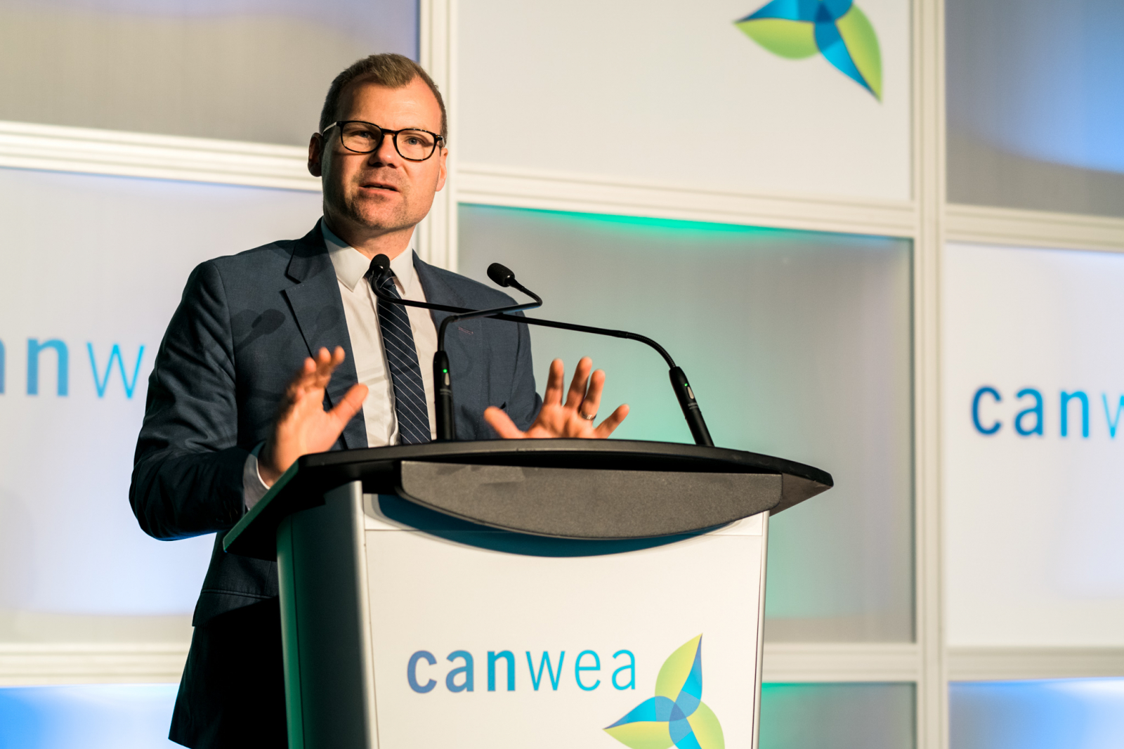 Dustin Duncan, Saskatchewan Minister of Energy and Resources and Minister responsible for SaskTel and SaskEnergy, at a CanWEA conference in Calgary on Oct. 24, 2018. Photo by Louie Villanueva