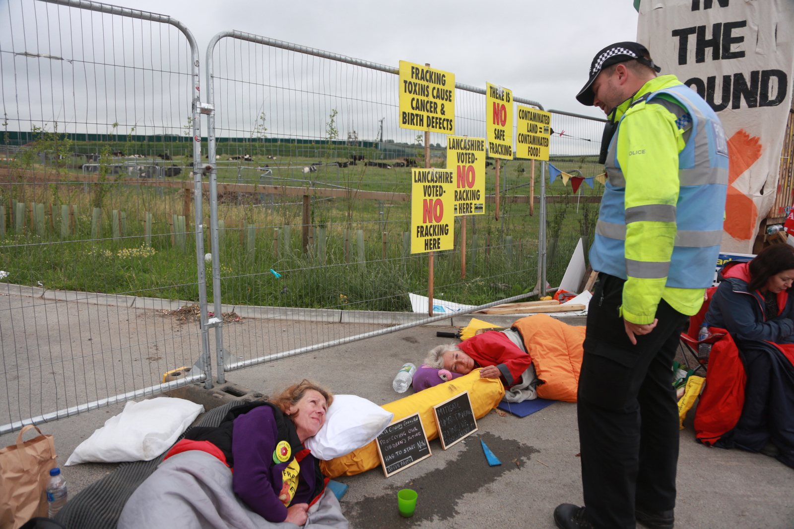 English local councillor Gina Dowding protests a fracking test drill site at Preston Road in Lancashire on July 3 2017