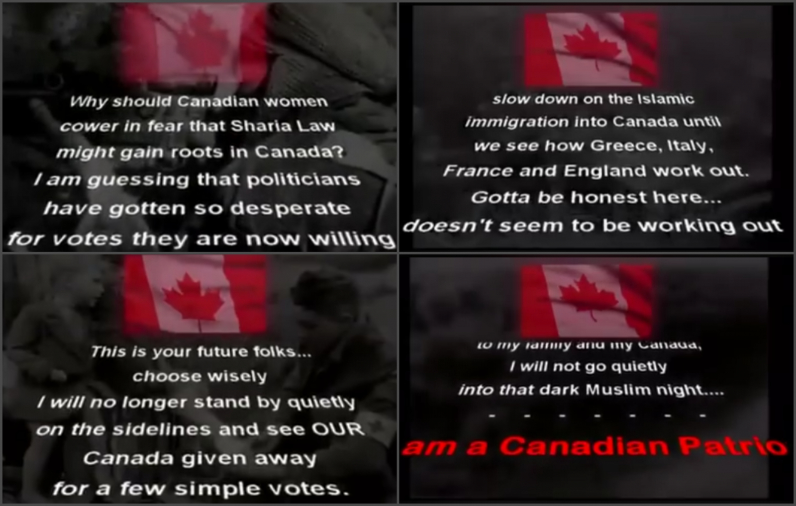 National Conservative News Network Canada Facebook Page Islamophobic Video Still Images
