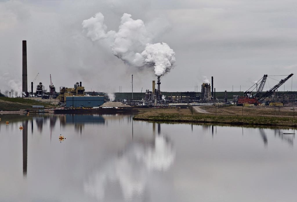 oil sands extraction facility, tailings pond, Fort McMurray, Alberta,