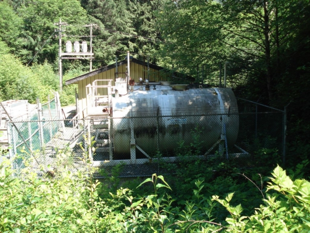 A diesel tank and generator power Dzawada'enuxw First Nation in Kingcome Inlet, B.C.