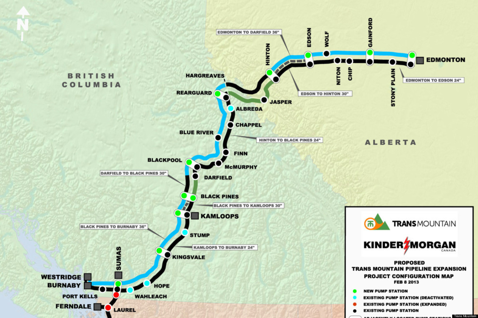 Canadian Trans Mountain Piepline Map