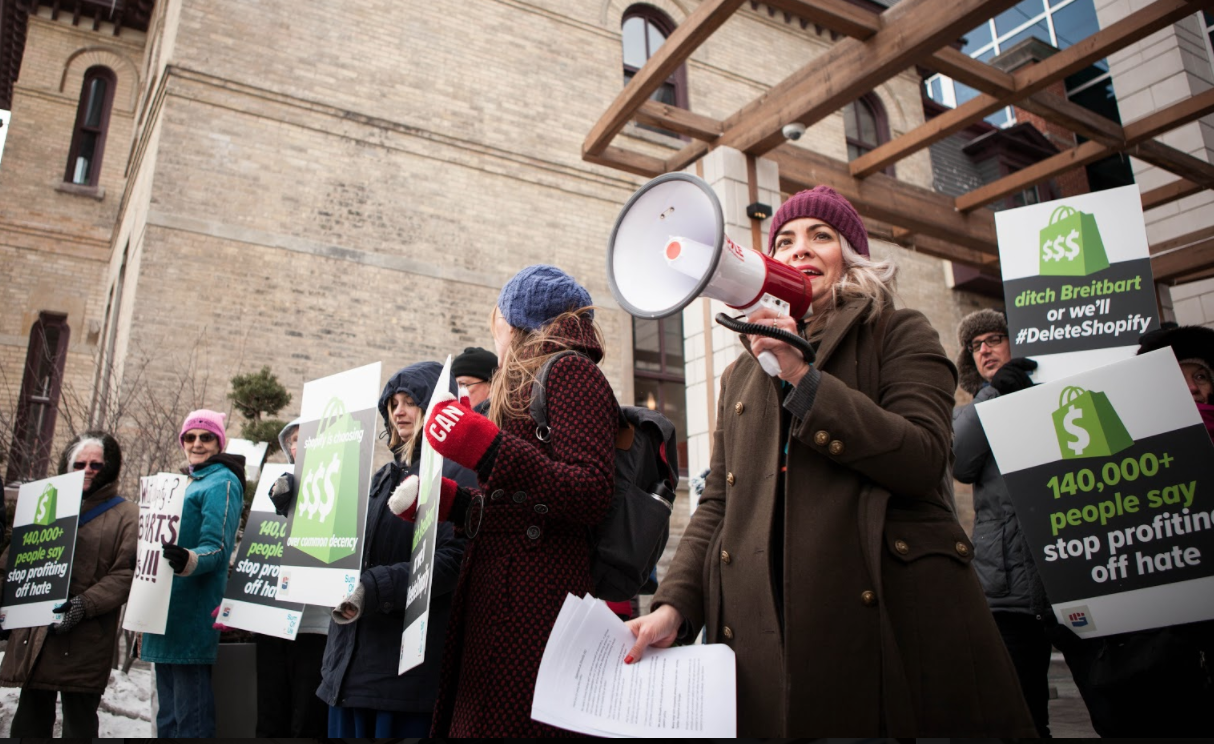 Protesters accuse Shopify of profiting from