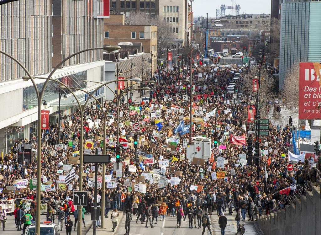 Image result for picture of montreal student strike for climate action march 2019