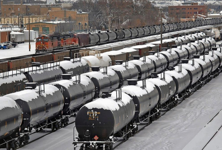 Photograph of railcars by The Canadian Press