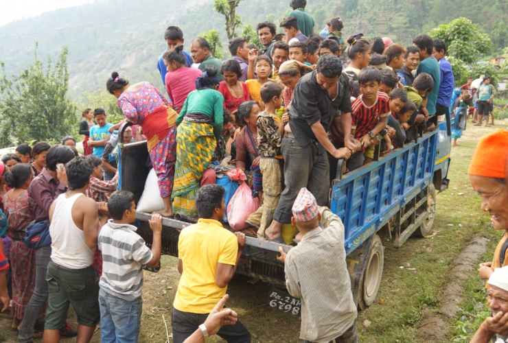 Kina non profit brings food to Nepal village after the earthquake