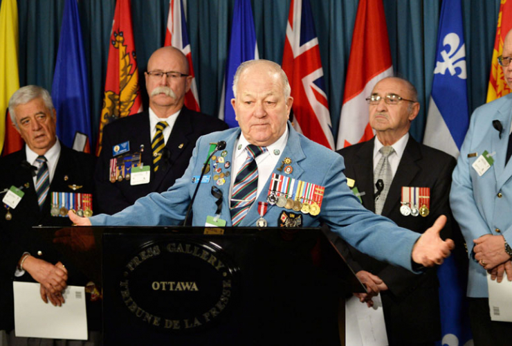 Veteran Ron Clarke at a news conference on Parliament Hill on Jan. 28, 2014. CP file photo