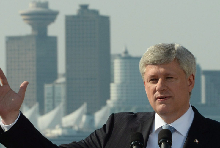 Harper in Vancouver. Canadian Press photo