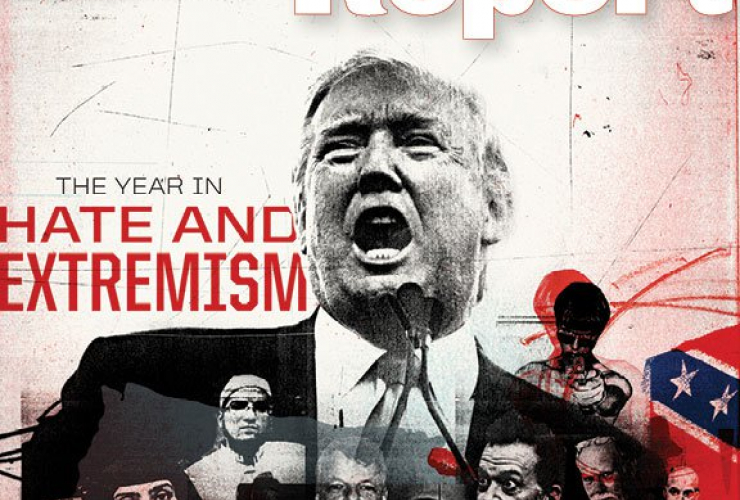 Donald Trump is depicted on the cover of a new report on hate in the U.S. Image courtesy of the Southern Poverty Law Center