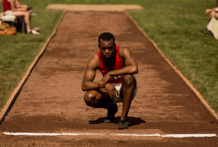 Jesse Owens (Stephan James) contemplates the broad jump in Race. Photo courtesy of Race Movie