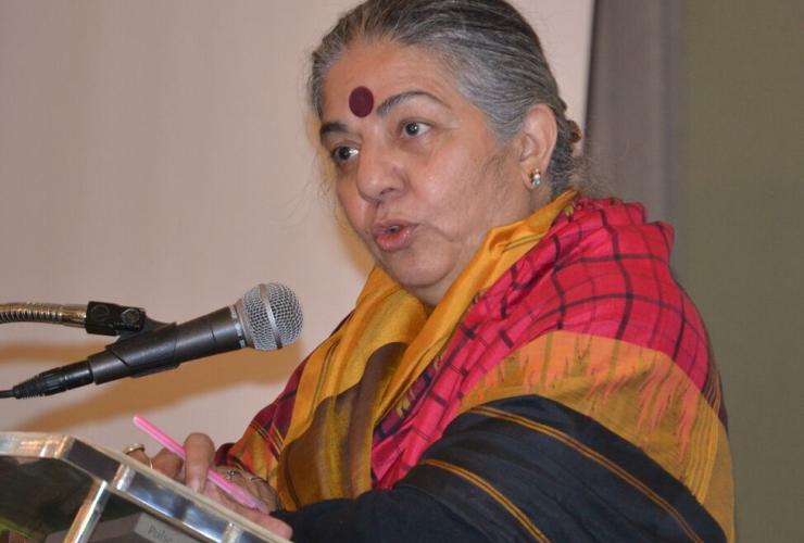 Vandana Shiva speaking at the COABC conference