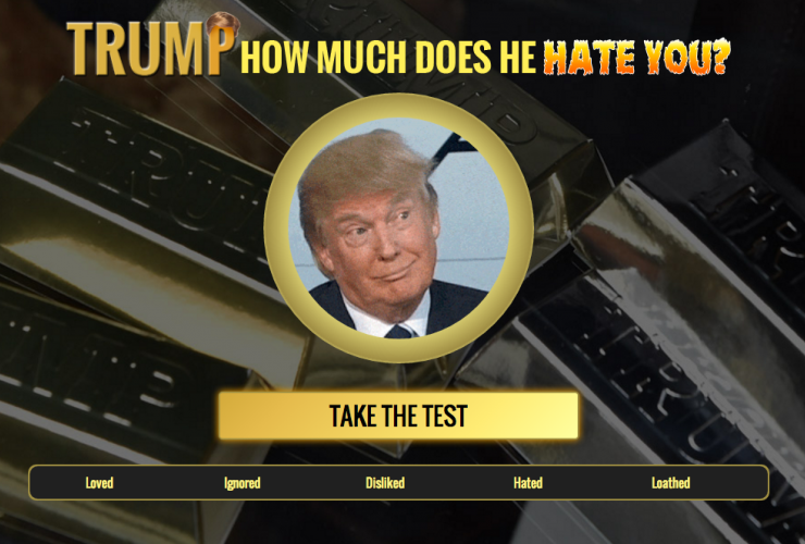 A screen shot of the online Trump test. Photo: Facebook