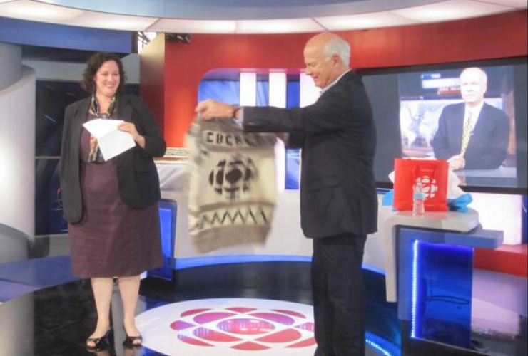 CBC editor in chief Jennifer McGuire with National Host Peter Mansbridge. Photo from CBC