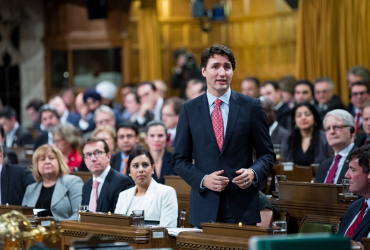 Prime Minister Justin Trudeau in the House of Commons. Photo from PMO by Adam Scotti