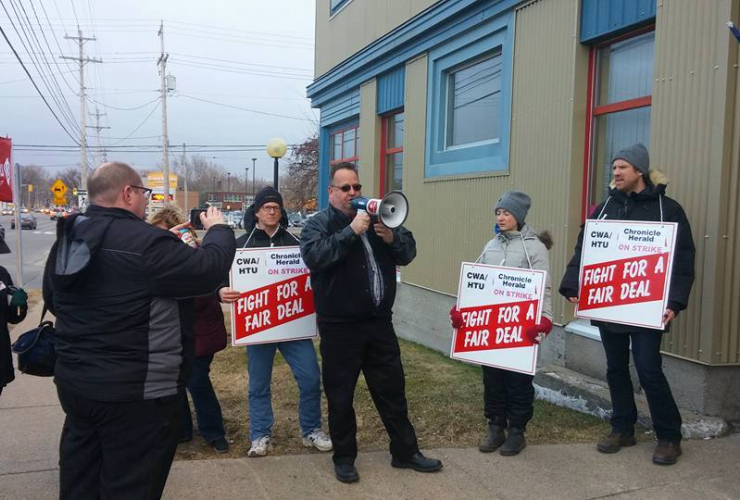 Chronicle-Herald journalists on the picket line. Photo from Halifax Typographical Union