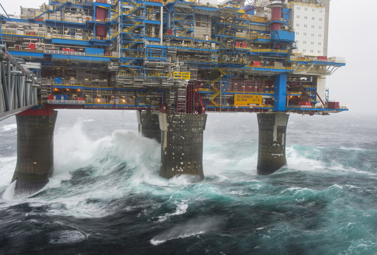 One of Statoil's drilling platforms in a storm. Photo by Oyvind Hagen/Statoil