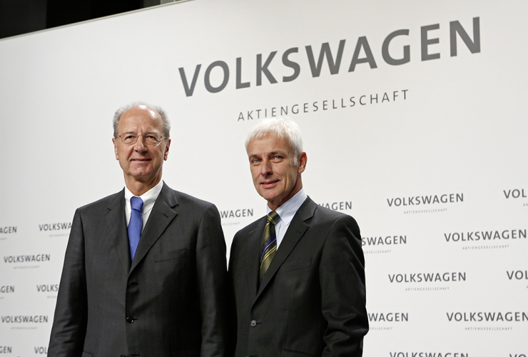 Hans Dieter Pötsch, Chairman of the Supervisory Board of Volkswagen AG, and Matthias Müller, CEO of Volkswagen AG. Photo from Volkswagen