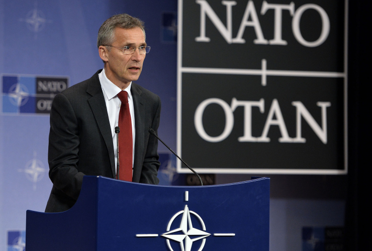 Jens Stoltenberg, secretary-general of NATO, at a pre-summit press conference. Photo by NATO