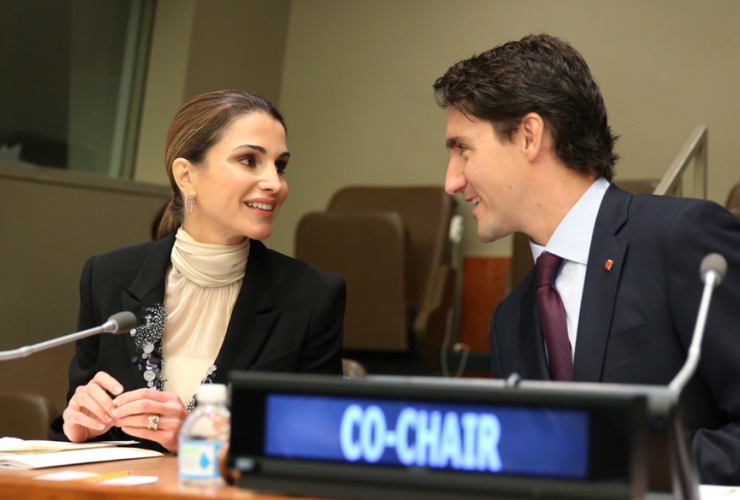 Justin Trudeau, Queen Rania Al Abdullah, New York, United Nations