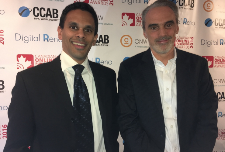 Mike De Souza, Bruce Livesey, National Observer, Canadian Online Publishing Awards