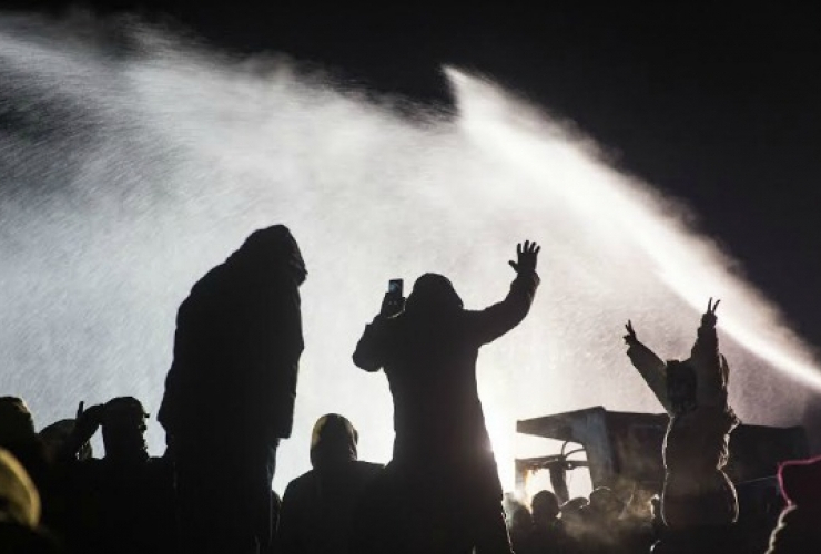 Dakota Access Pipeline, water cannons, protest