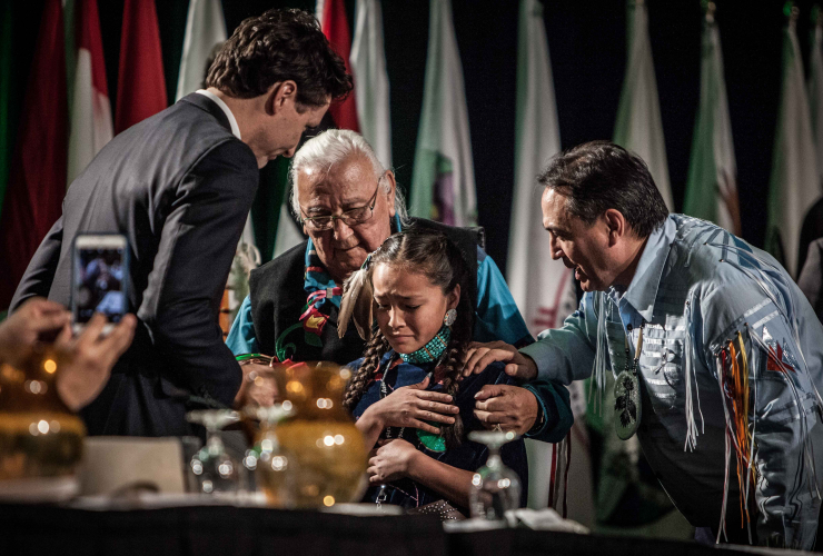 Autumn Peltier, Justin Trudeau, Perry Bellegarde
