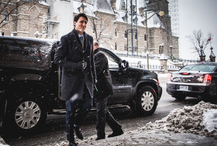 Justin Trudeau, Ottawa, news conference, snow, winter