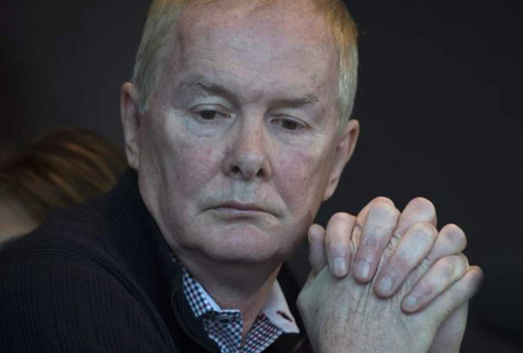 John Furlong addressing the media from his lawyer's office, Mar. 2015.