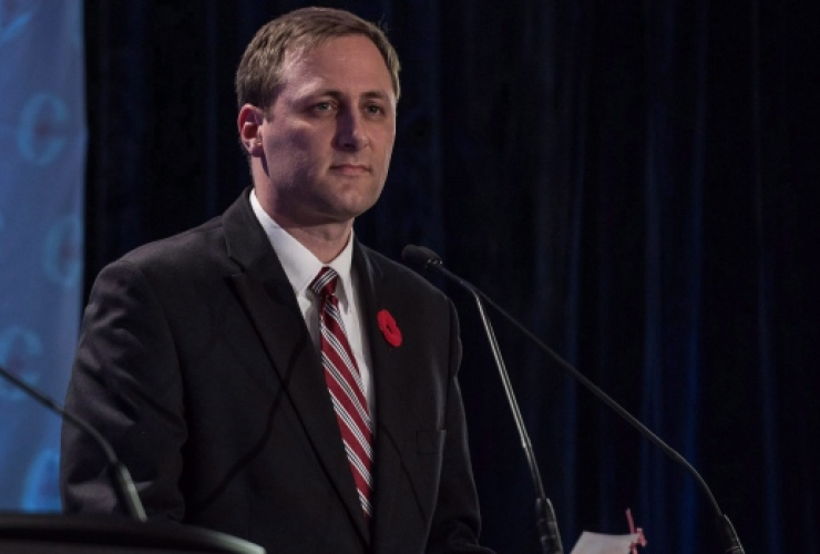 Conservative leadership candidate Brad Trost speaks during the Conservative leadership debate in Saskatoon on Wednesday, November 9, 2016. Photo by CP/Liam Richards.
