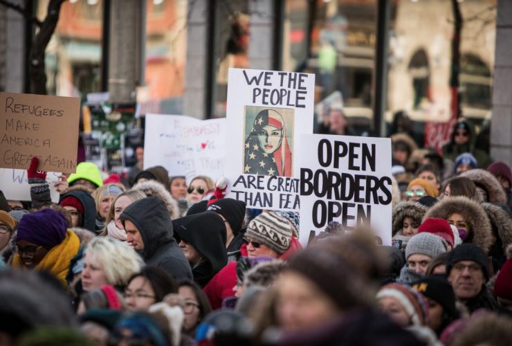human chain, U.S. embassy, travel ban, Trump ban, protest