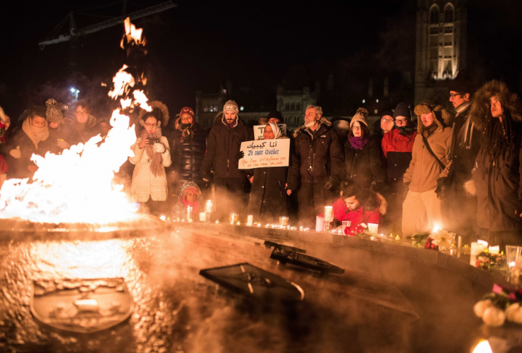 candlelight vigil, Quebec shootings, Parliament Hill,