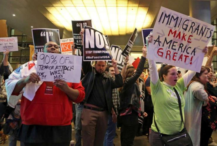 Trump ban, refugees, immigrants, travel ban, Donald Trump, airport, protest