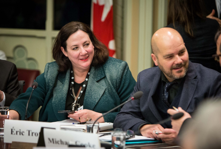 CBC editor-in-chief Jennifer McGuire and La Presse associate editor Éric Trottier testified before a Senate committee on Feb. 16. 2017.