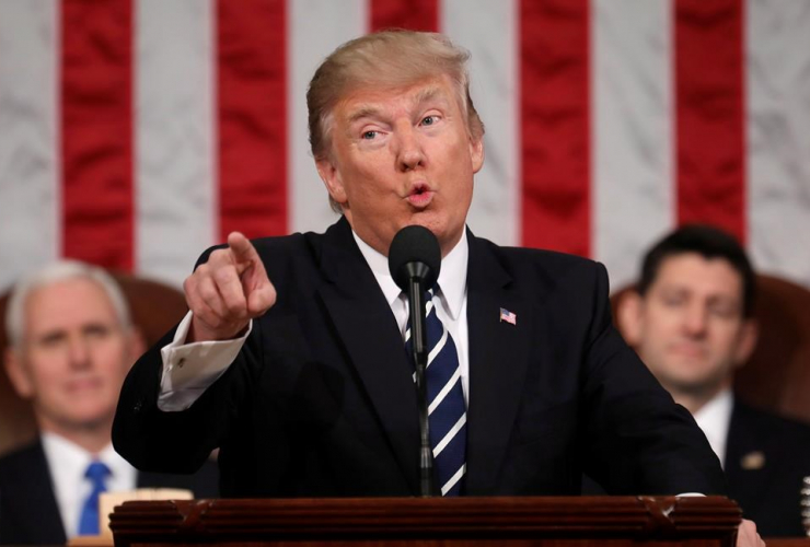 President Donald Trump addresses a joint session of Congress on Capitol Hill in Washington, Tuesday, Feb. 28, 2017