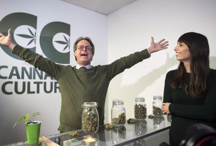 Marc and Jodie Emery, who own the Cannabis Culture brand, at the opening of one of their pot stores Thursday, December 15, 2016, in Montreal. The two have been arrested in Toronto. Photo by Paul Chiasson/Canadian Press
