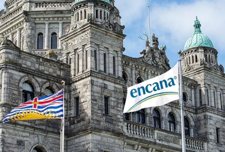 Encana flag and the B.C. Legislature