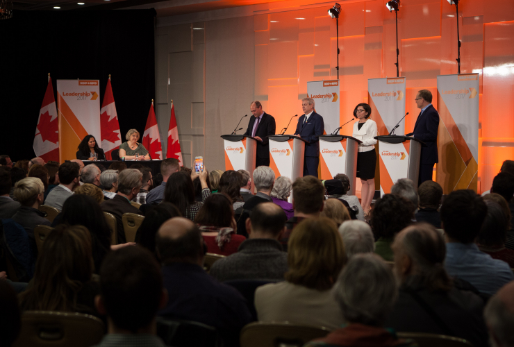 Four candidates set out their vision for the leadership of the federal NDP in a debate in Ottawa on Sunday. Photo by Alex Tétreault.