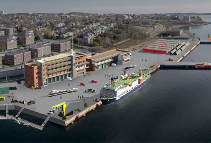 A rendition of an ocean technology facility on Halifax harbour is shown in a handout photo. The project that will transform a section of Halifax's waterfront into an ocean research and development facility has received a multimillion-dollar investment.