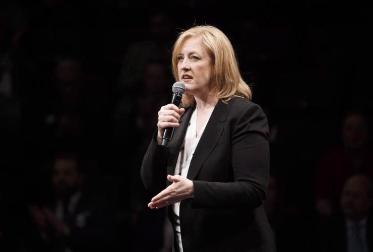 Lisa Raitt speaks during the Conservative leadership debate in Edmonton, Alta., on Tuesday, Feb. 28, 2017.