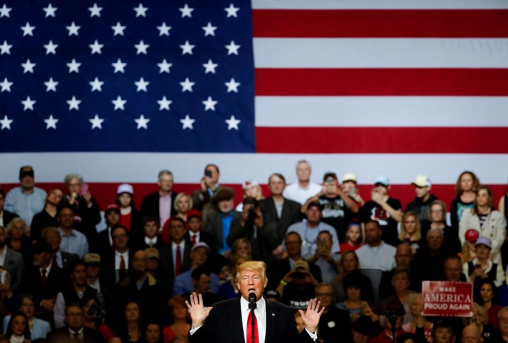 President Donald Trump speaks during a rally at the Kentucky Exposition Center, Monday, March 20, 2017, in Louisville, Ky.