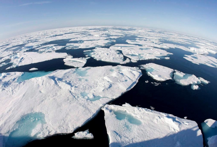 This July 10, 2008 photo made with a fisheye lens shows ice floes in Baffin Bay above the Arctic Circle, seen from the Canadian Coast Guard icebreaker Louis S. St-Laurent. File photo by The Canadian Press