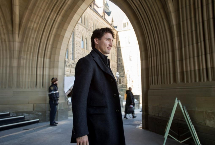 Prime Minister Justin Trudeau leaves Centre Block following a weekend meeting of the national caucus on Parliament Hill in Ottawa on Saturday, March 25, 2017.